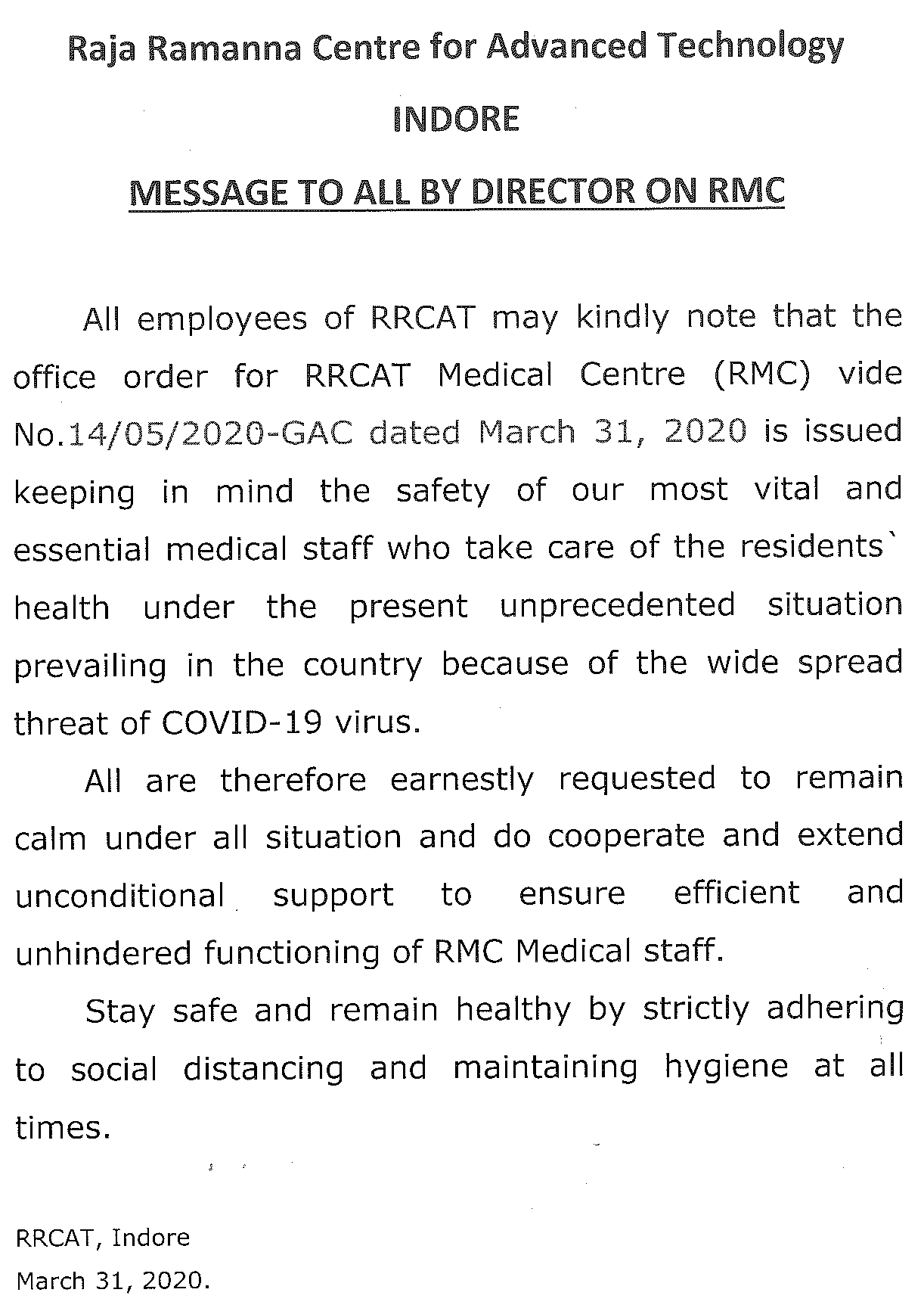 director message rmc
